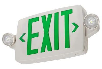 White LED Exit Sign/Emergency Light Combo W/ Battery Backup - Single Or Doubl...